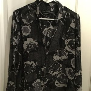 AllSaints silk blouse with modern floral pattern